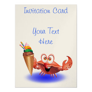 Crab Cartoon with Ice Cream invitation card