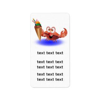 Crab Cartoon with Ice Cream label adress