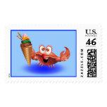 Crab Cartoon with Ice Cream stamp postage