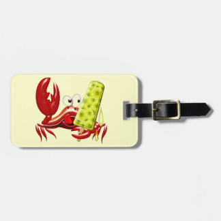 Crab Cartoon with Lemon Ice Lolly Luggage Tag