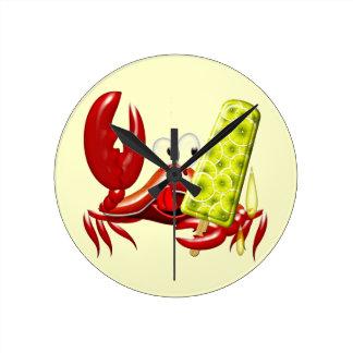 Crab Cartoon with Lemon Ice Lolly Wall Clock