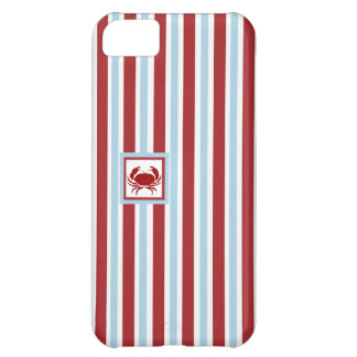 Crab Case - Blue & Red Stripes - iPhone Case