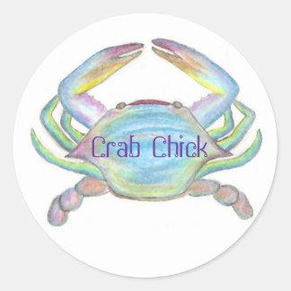 Crab Chick Designs, CrabChick Classic Round Sticker
