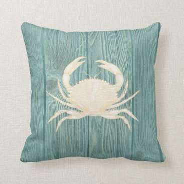 Beach Themed Crab Cream Vintage Aqua Wood Pillow