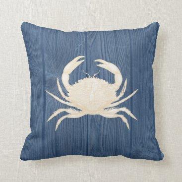 Beach Themed Crab Cream Vintage Blue Wood Pillow