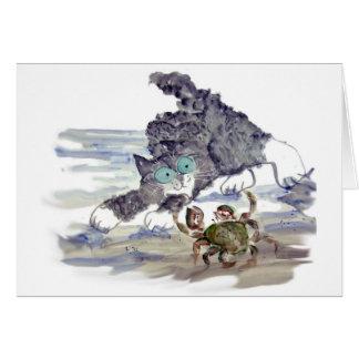Crab Dancing - Kitten and Crab Tango Greeting Card