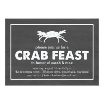 Crab Feast Black & White Chalkboard Invitation