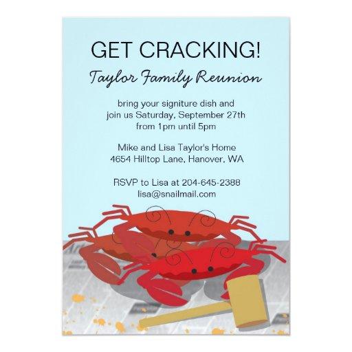 Crab Feast Party Invitation, 5x7 Paper Invitation Card