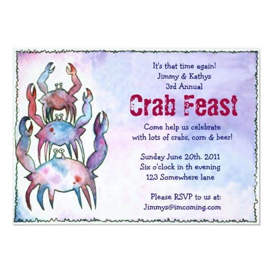 CRAB FEST FEAST Dinner Party Invitation