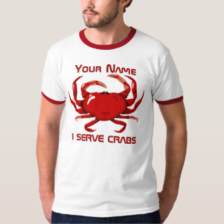 Crab I Serve Crabs Mens Red Ringer T-shirt 6