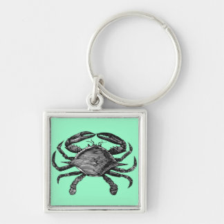 Crab Silver-Colored Square Keychain