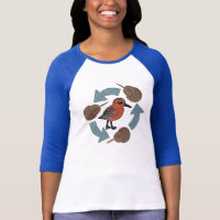 Crab-Knot Cycle Ladies Raglan Fitted T-Shirt