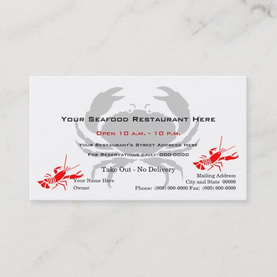 Crab Logo Seafood Restaurant Business Card