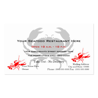 Crab Logo Seafood Restaurant Double-Sided Standard Business Cards (Pack Of 100)