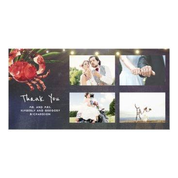 Beach Themed Crab Nautical Beach Wedding Thank You Wedding Card