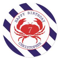 Crab Nautical Birthday Party Invitation Classic Round Sticker