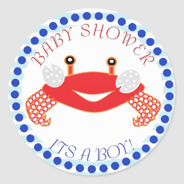 Beach Themed Crab Nautical Themed Baby Shower Stickers