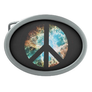 Crab Nebula Peace Sign Oval Belt Buckle