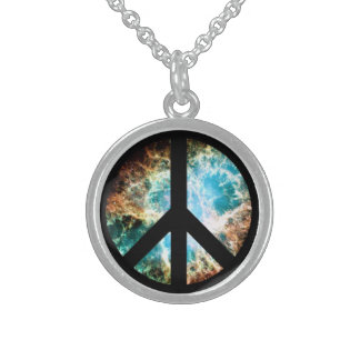 Crab Nebula Peace Sign Sterling Silver Necklace