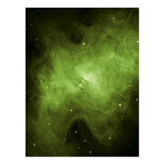 Crab Nebula, Supernova Remnant, Green Light Postcard
