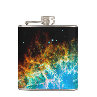 Crab Nebula Supernova Remnant Hubble Space Photo Flask