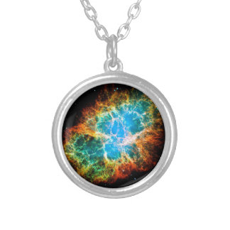 Crab Nebula Supernova Remnant Hubble Space Photo Silver Plated Necklace