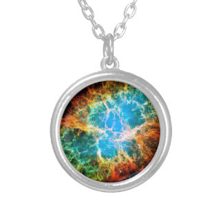 Crab Nebula Supernova Remnant Silver Plated Necklace