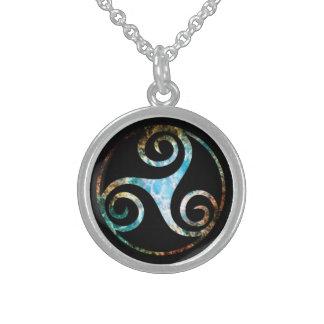 Crab Nebula Triskell Round Pendant Necklace
