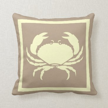 Beach Themed CRAB: off white cream  grey colored Throw Pillow
