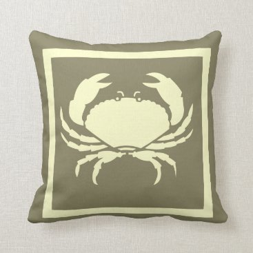 Beach Themed CRAB: off white cream   navy grey colored Throw Pillow