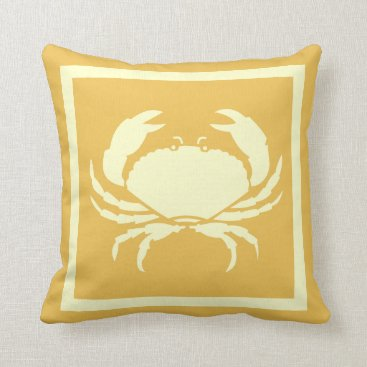 Beach Themed CRAB :off white cream   tan sand colored Throw Pillow