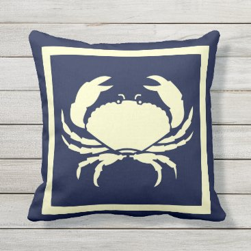 Beach Themed CRAB ,off white on  navy pillow