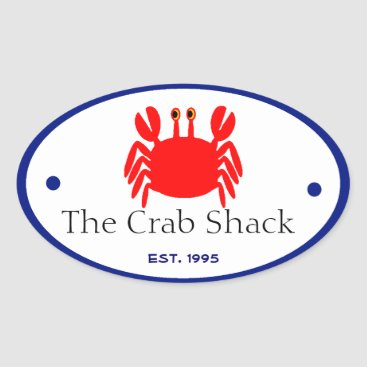 Professional Business Crab Oval Sticker