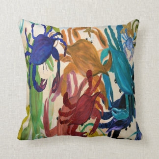Crab party art throw pillow