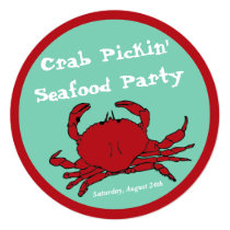 Crab Picking Seafood Boil Party Round Custom Invitation