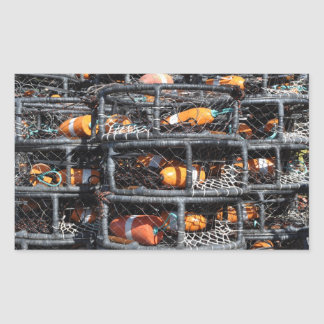 Crab Pots Stacked for Fishing Rectangular Sticker