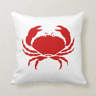 Beach Themed CRAB red pillow