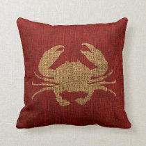 Crab Rustic Red Throw Pillow