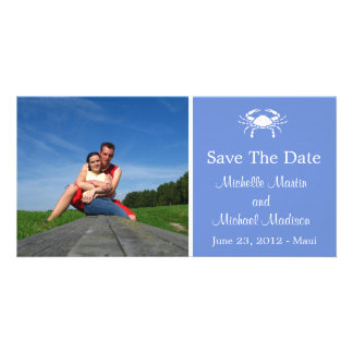 Crab Save The Date Photocard (Periwinkle) Photo Greeting Card
