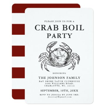 Beach Themed Crab | Seafood Boil Vintage Style Crab Invitations