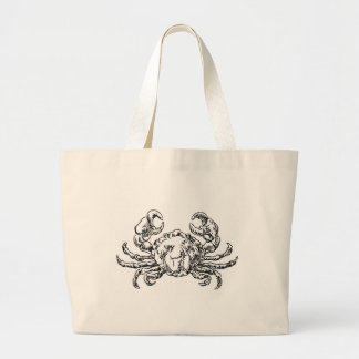 Crab Seafood Food Grunge Style Hand Drawn Icon Large Tote Bag
