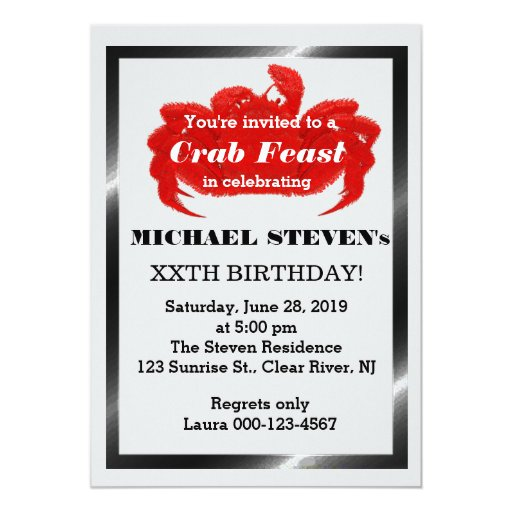 Crab Seafood Party Birthday Party Invite | Zazzle