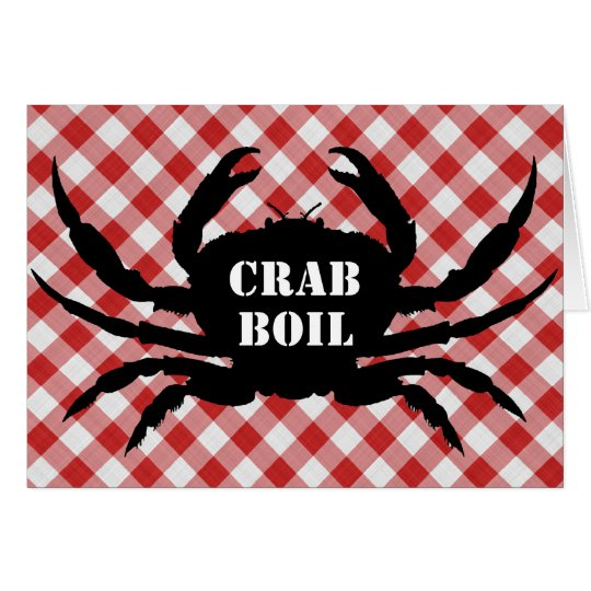 Crab Silo on Red & White Checked Cloth Crab Boil Card