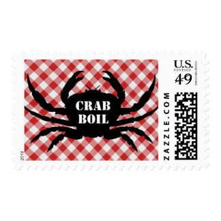 Crab Silo on Red & White Checked Cloth Crab Boil Postage
