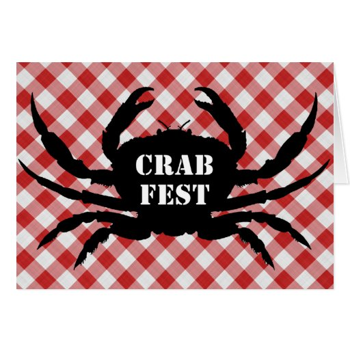 Crab Silo on Red & White Checked Cloth Crab Fest Greeting Card