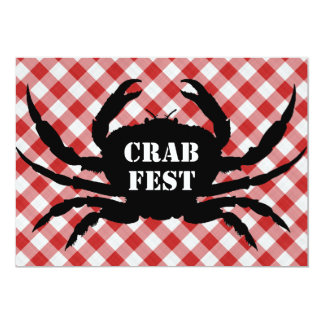 Crab Silo on Red & White Checked Cloth Crab Fest Card