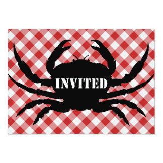 Crab Silo on Red & White Checked Cloth Invited Card