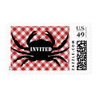 Crab Silo on Red & White Checked Cloth Invited Postage