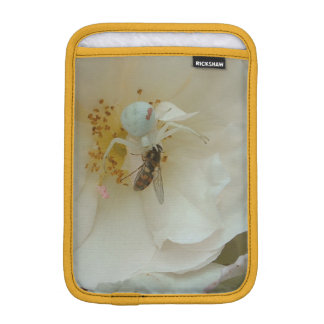 Crab Spider and Hover Fly on White Rose iPad Mini Sleeve
