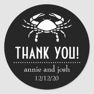 Crab Thank You Labels (Black) Round Sticker